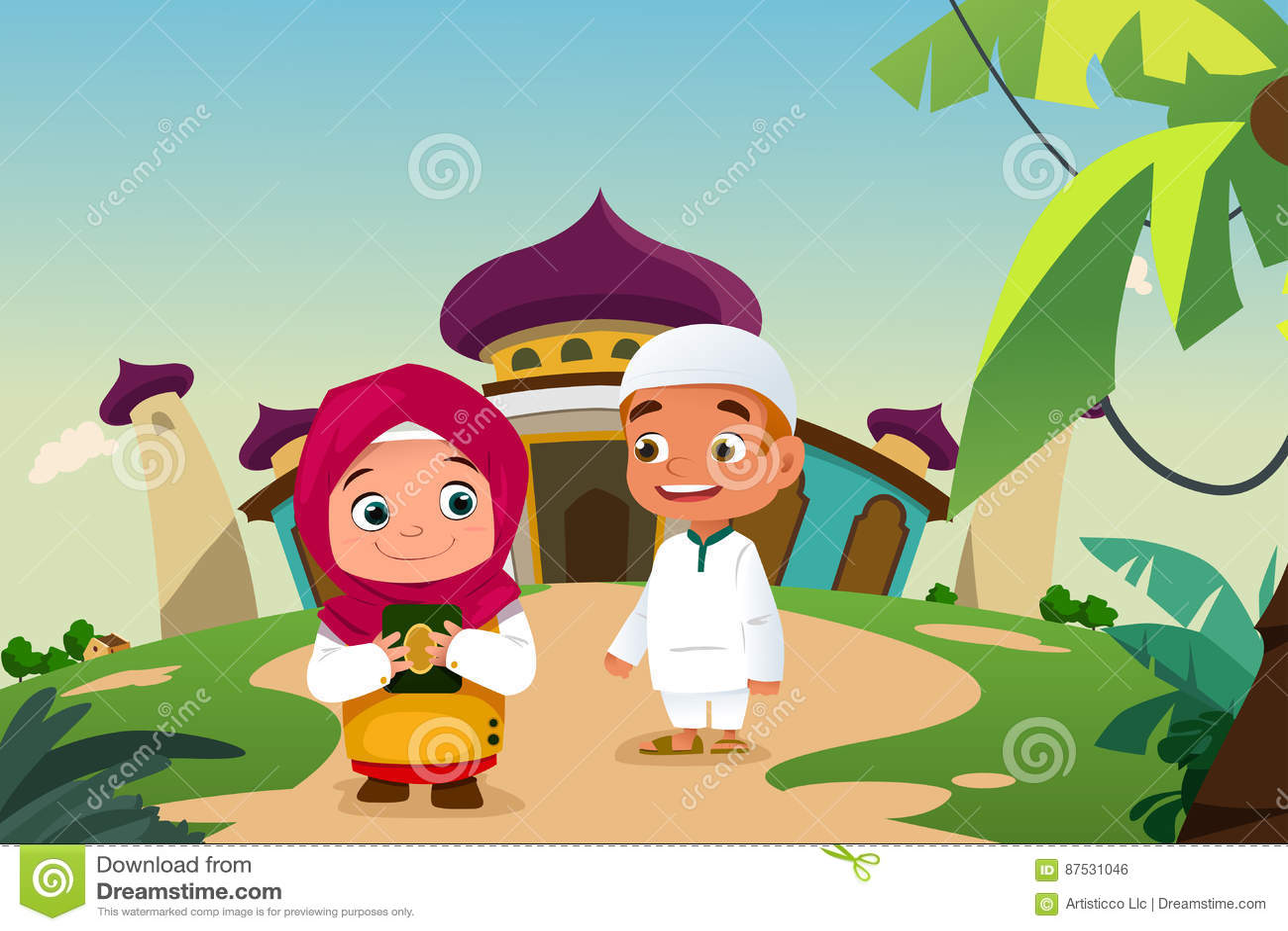 Muslim Kids Leaving a Mosque