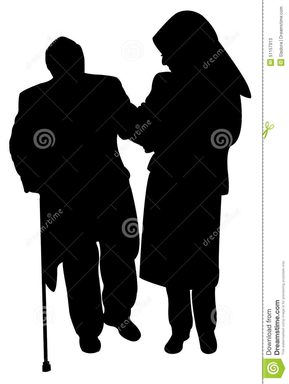 muslim lady with scarf helping old man stock vector