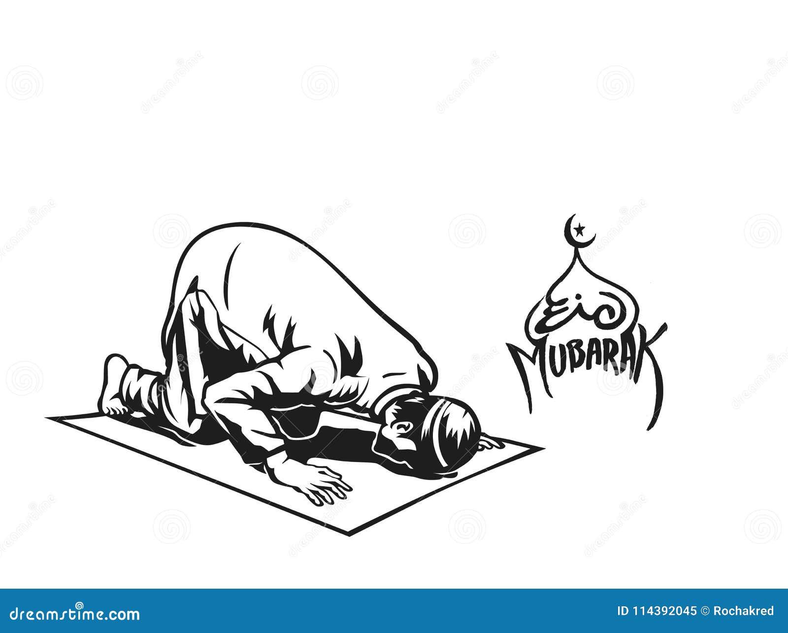 muslim man praying namaz islamic prayer hand drawn