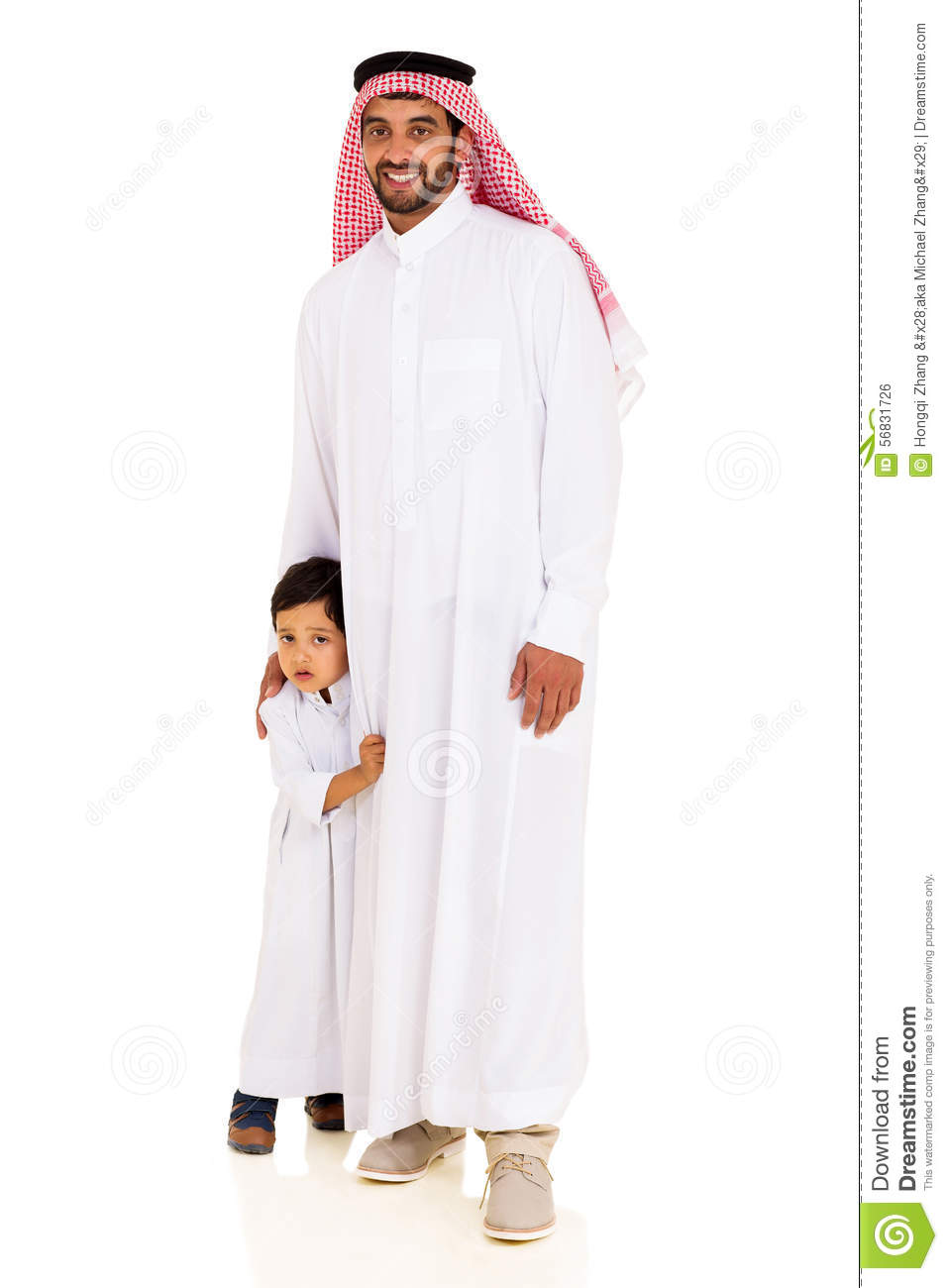 Muslim Man Standing Son Stock Photo Image Of Full Arab 56831726