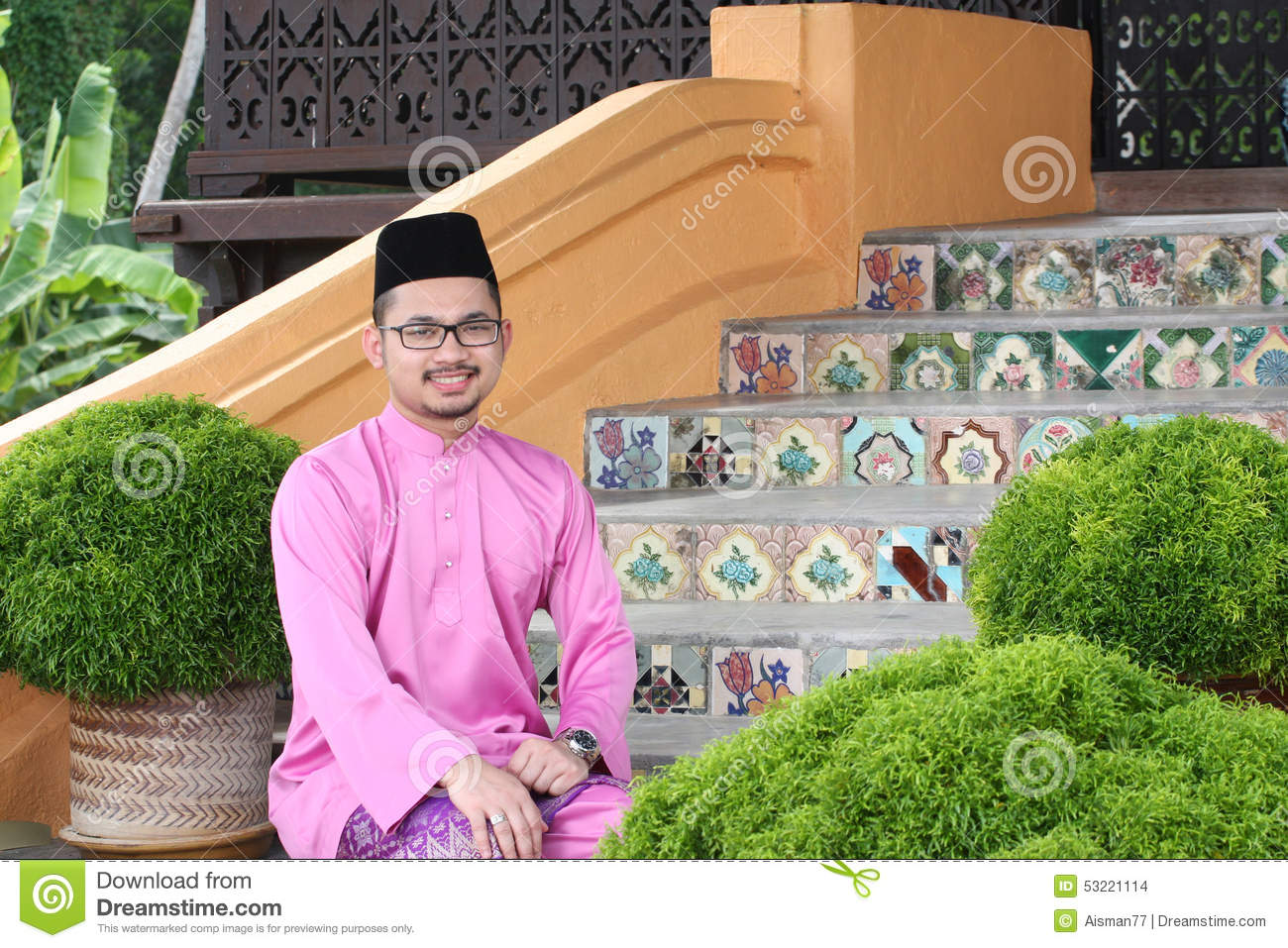 A Muslim Man With Traditional Baju Melayu Stock Photo Image Of