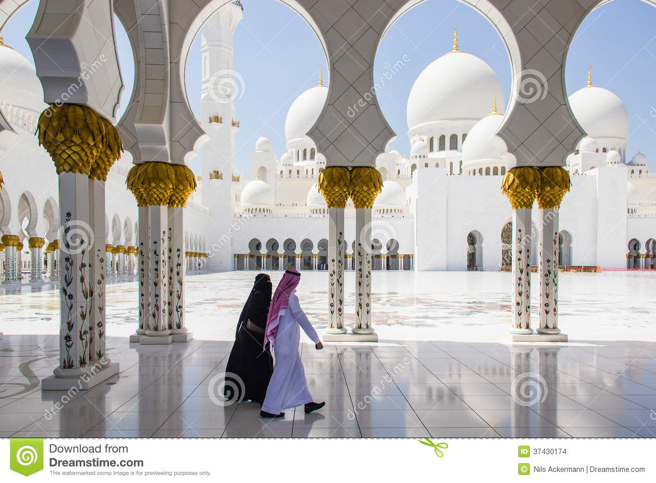 Download Muslim Man And Woman Walking At Sheikh Zayed Grand Mosque Taken On March 31, 2013 In Abu Dhabi, Unit Editorial Stock Image - Image of prayer, couple: 37430174