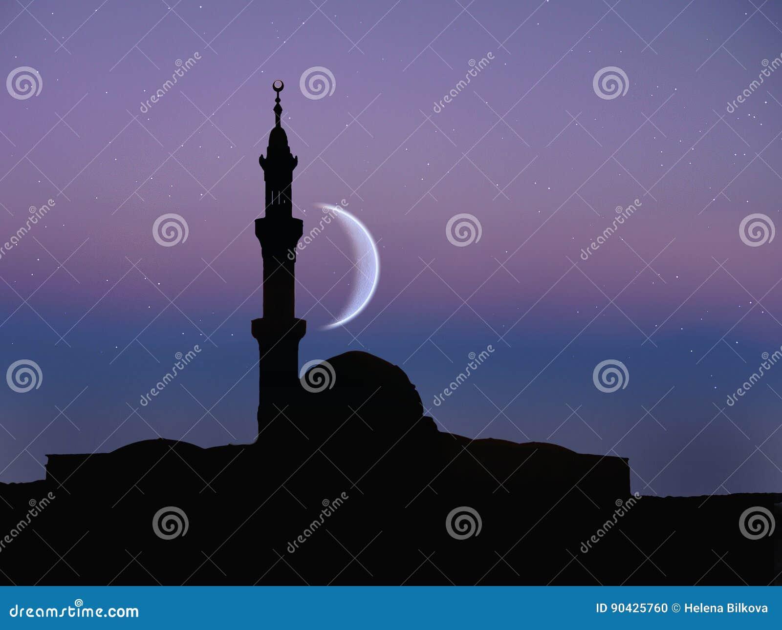 Muslim Mosque, Night Moon