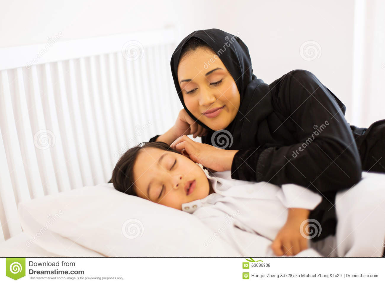 muslim mother son sleeping stock photo image of house 63086938