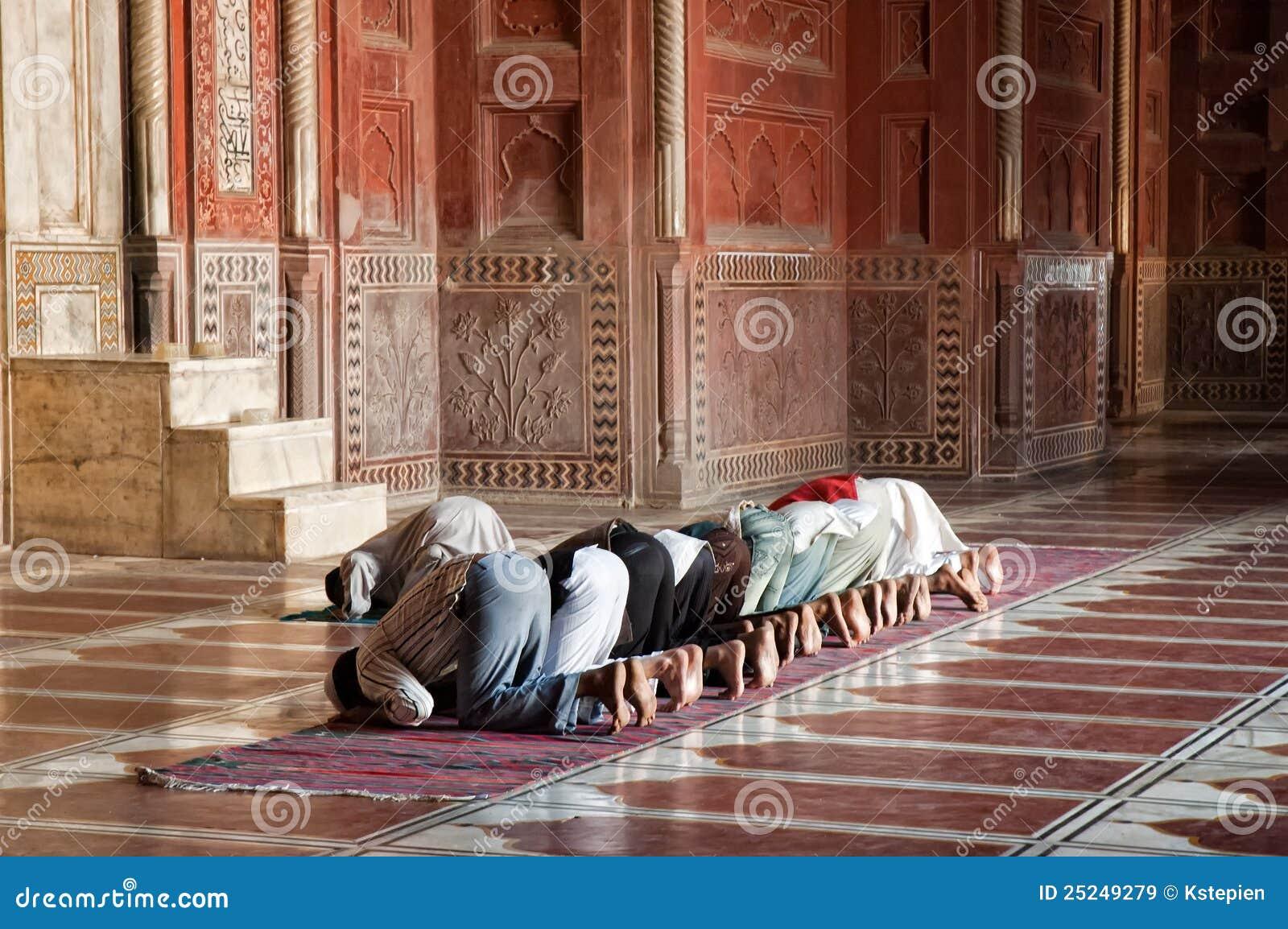 Muslim prayers in the Jama Masjit in Delhi, India