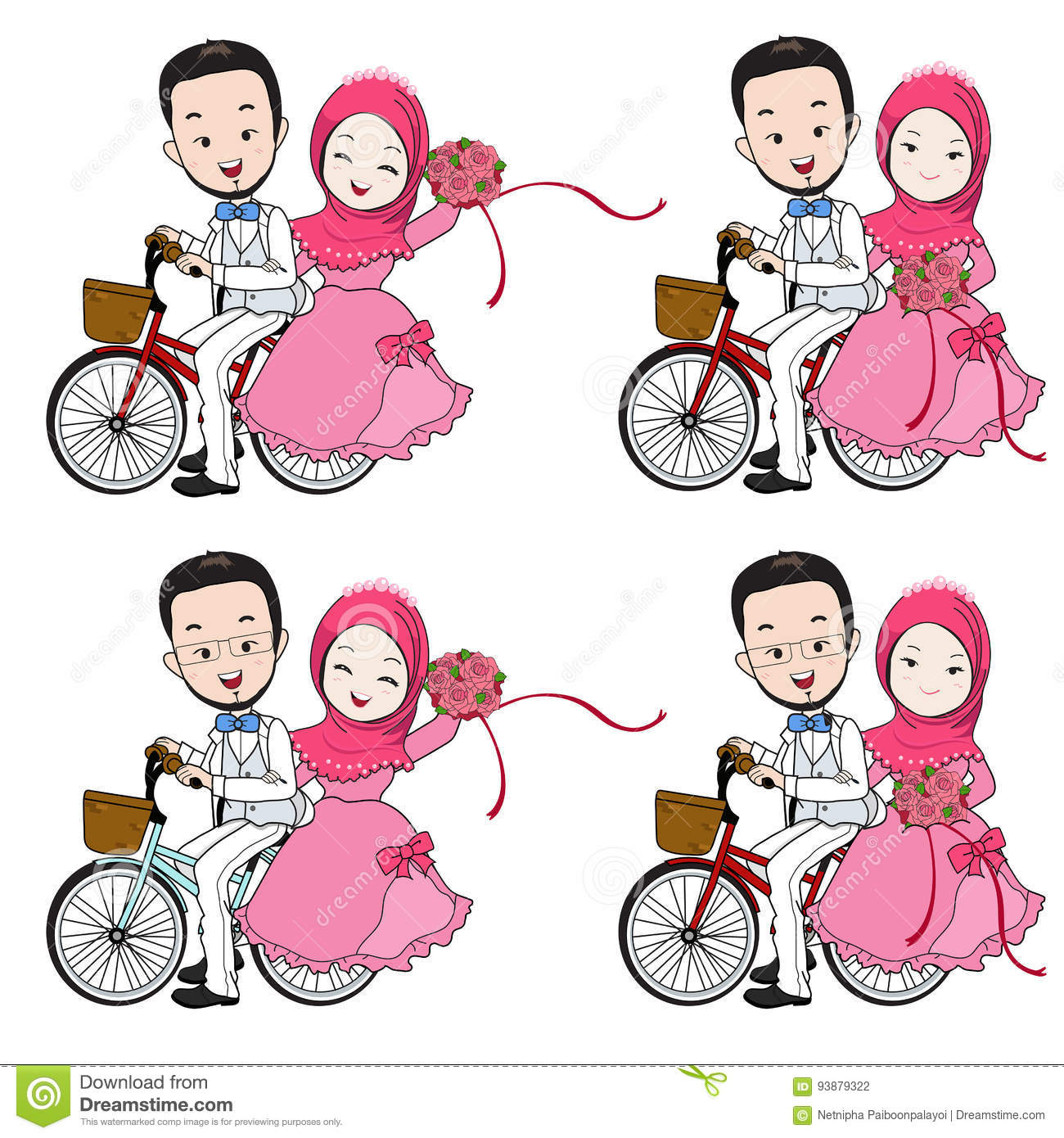 Muslim Wedding Cartoon Bride And Groom Riding Bicycle With Flow Stock Vector