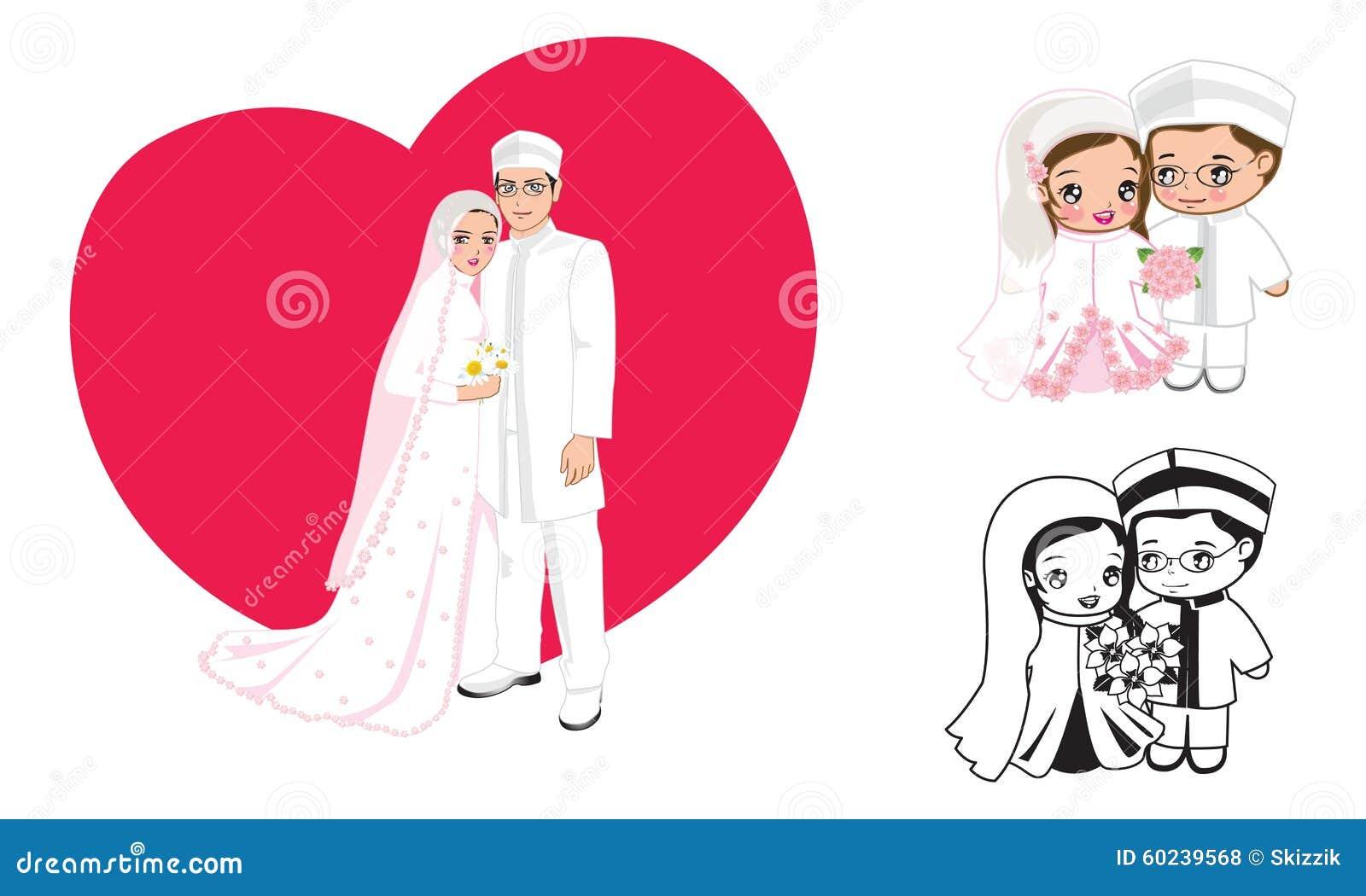 Muslim wedding cartoon