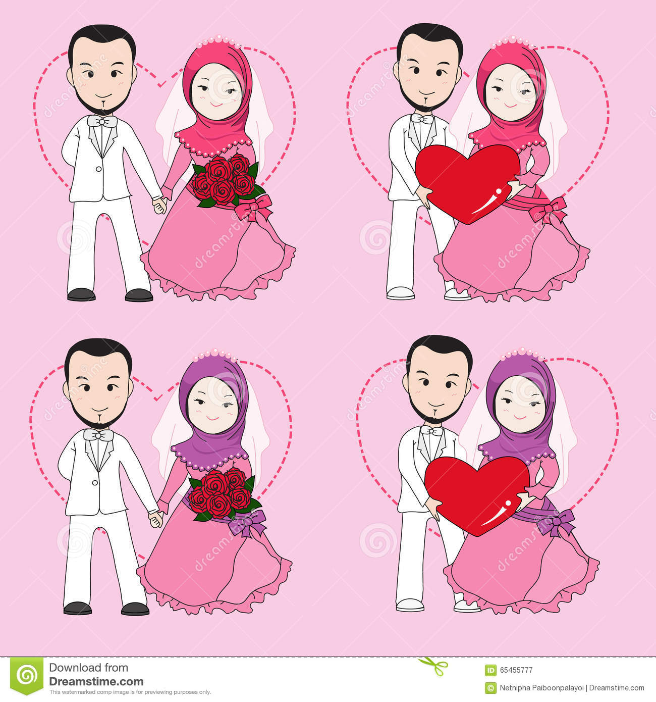 groom muslim Muslim wedding couple vector cartoon, bride and groom sitting on a chair with happy face, groom hugging bride adana central mosque gold vintage greeting card on a black background.