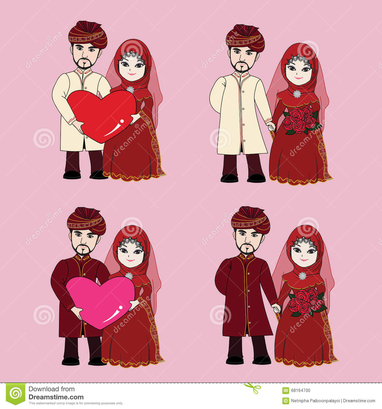 Muslim Wedding Couple Cartoon Illustration 68164700 Megapixl