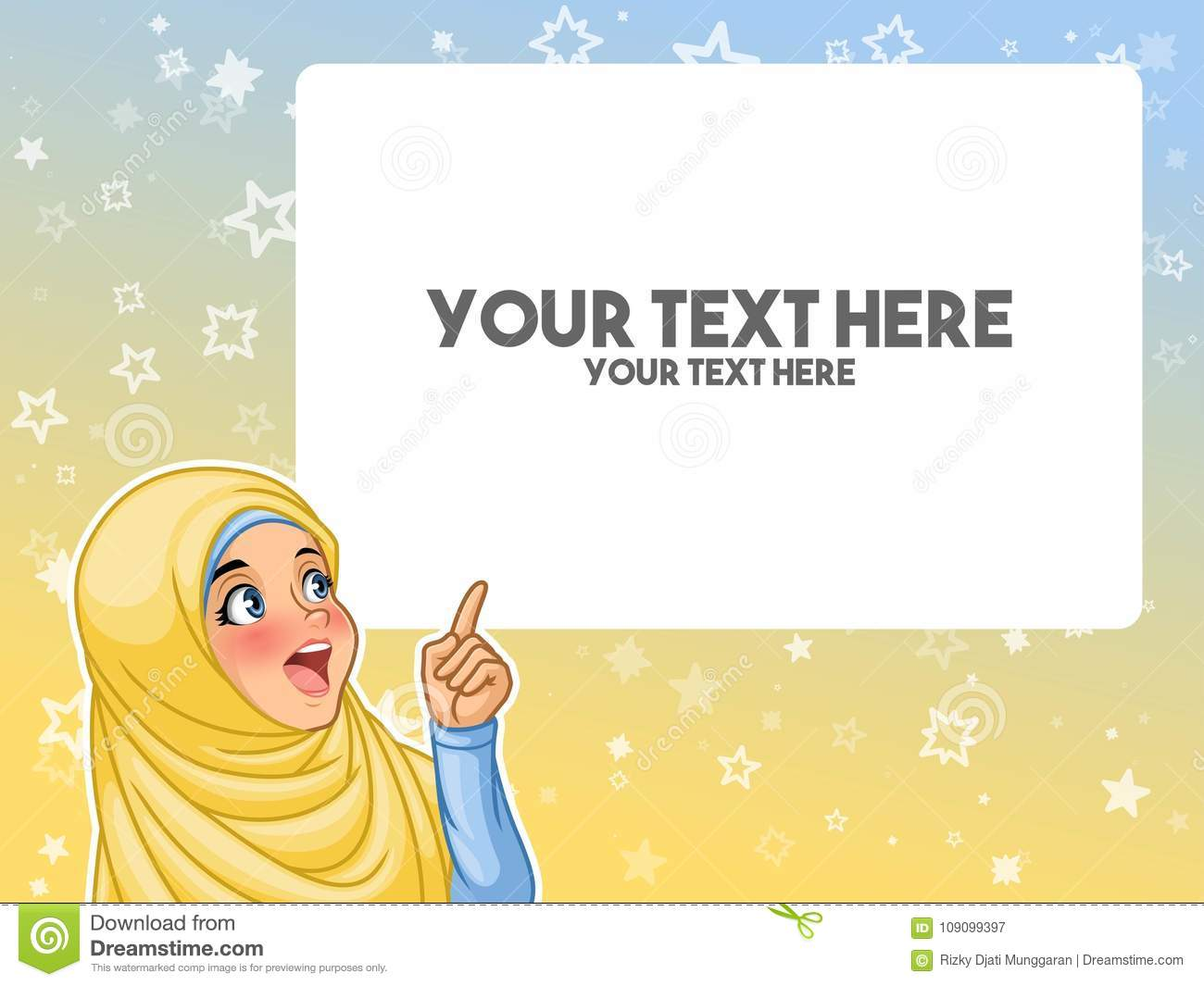 Muslim woman excited pointing finger up at blank copyspace