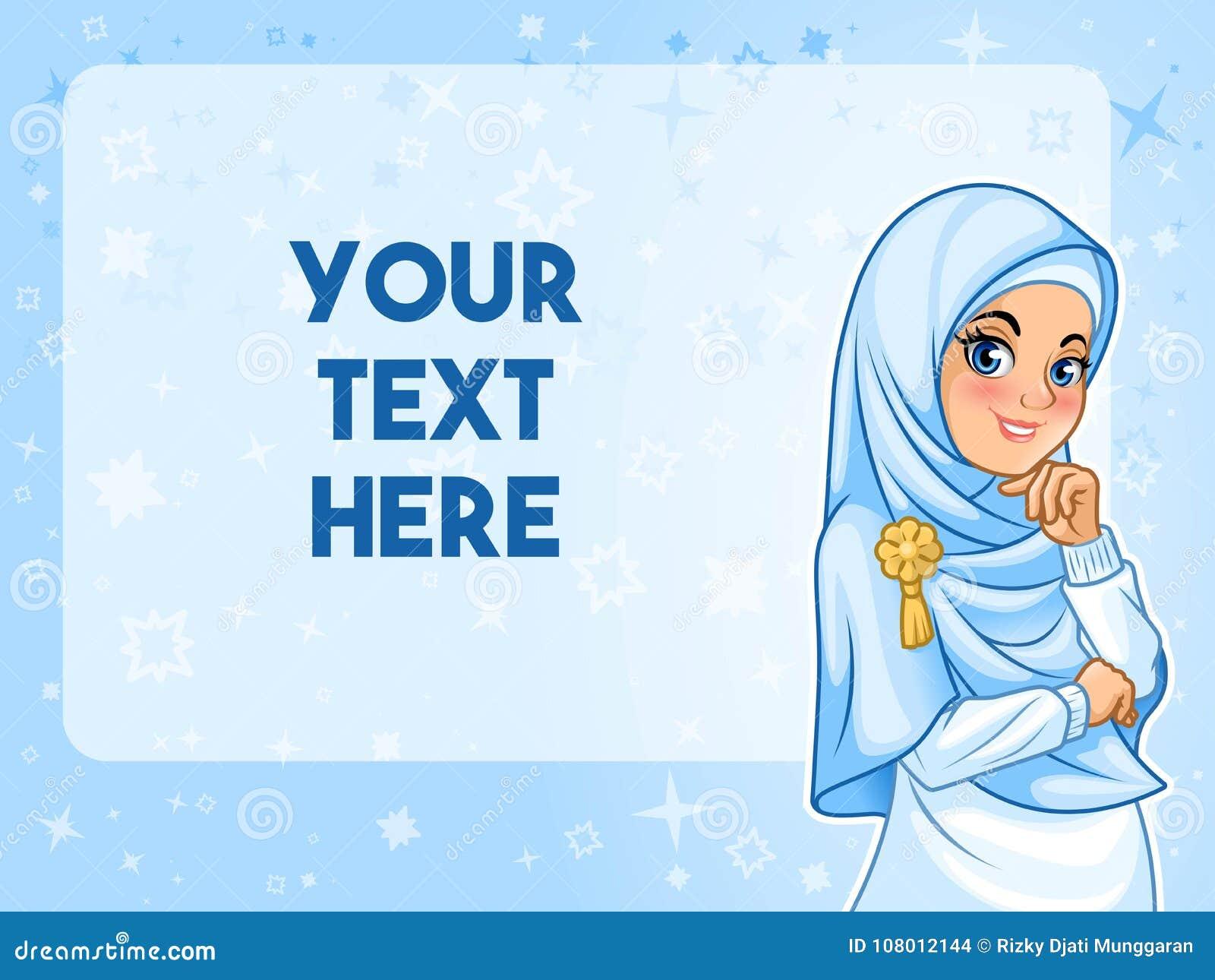 Muslim woman having her hand under chin vector illustration