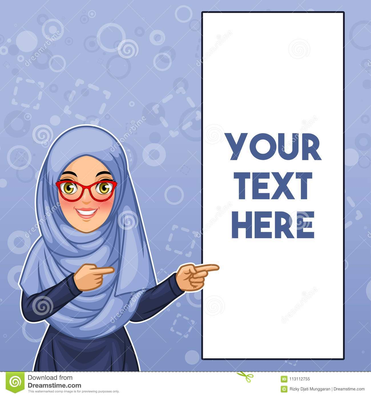 Muslim woman pointing finger to the left side at copy space