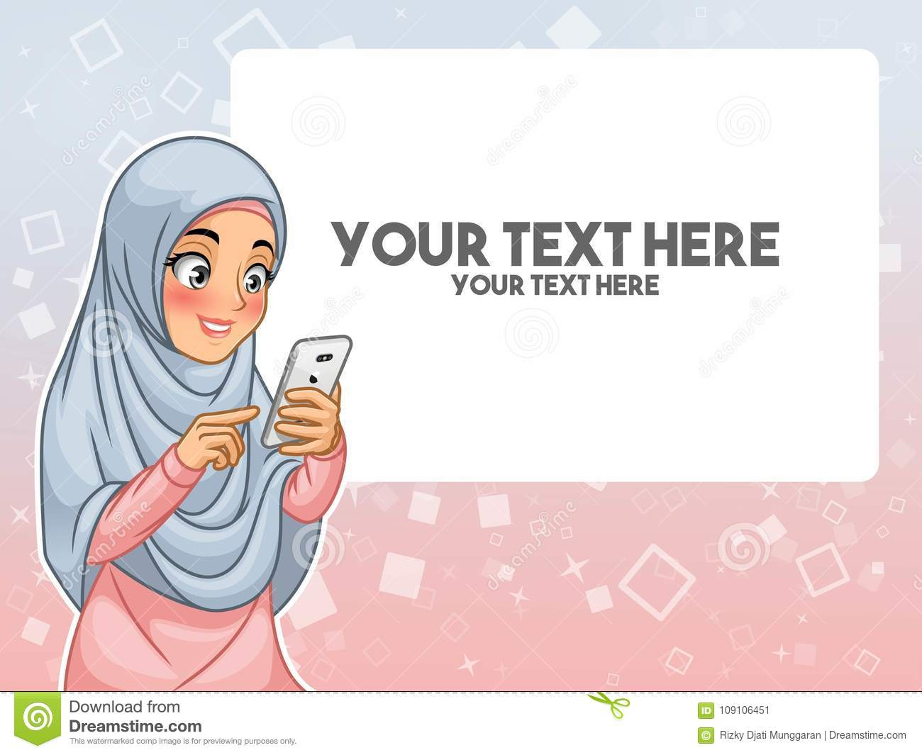 Muslim woman hand touching a smart phone by pointing with her finger