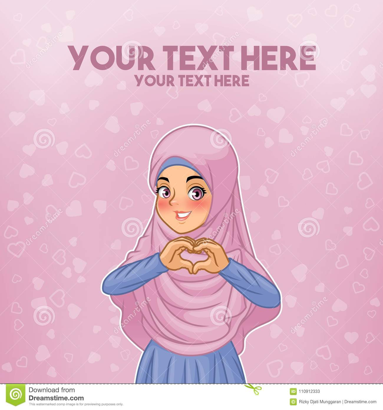 Muslim woman wearing hijab making heart shape with her hands