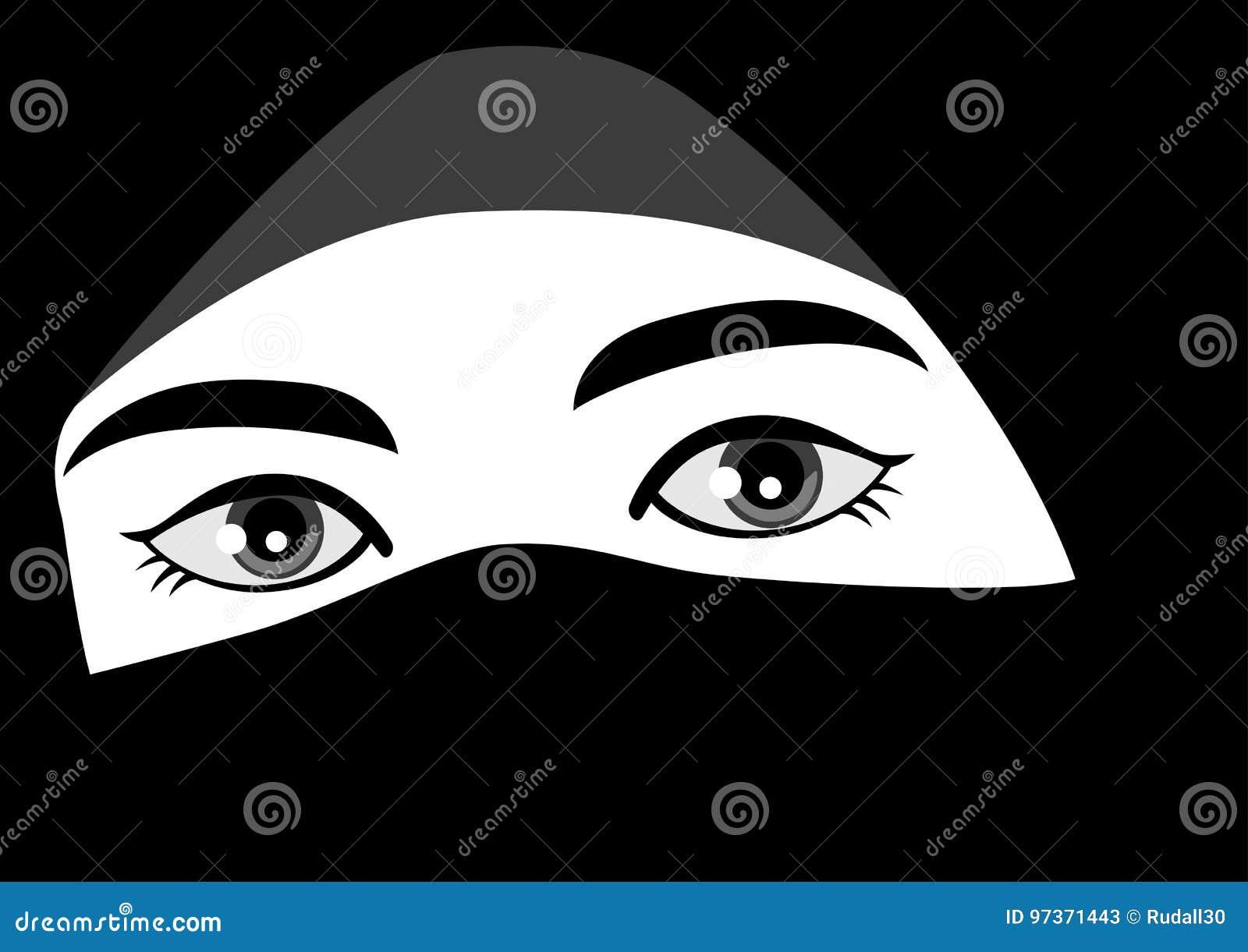 Black and white illustration of muslim woman wearing hijab or niqab