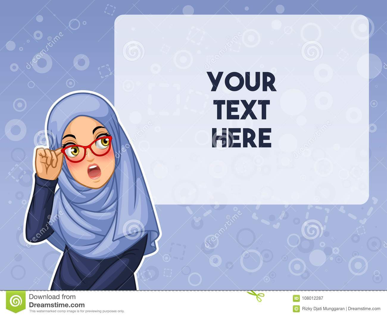 Muslim woman shocked with holding her glasses vector illustration