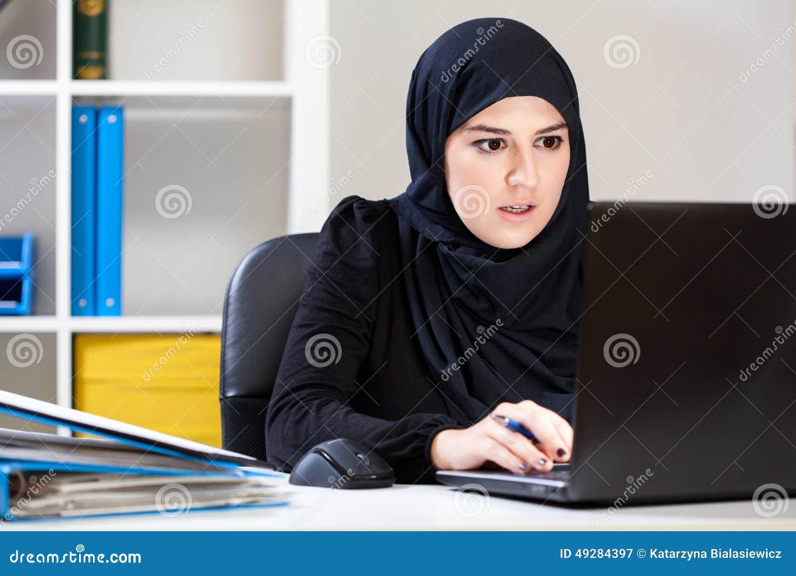 Muslim Woman Working On Laptop Stock Photo Image 49284397