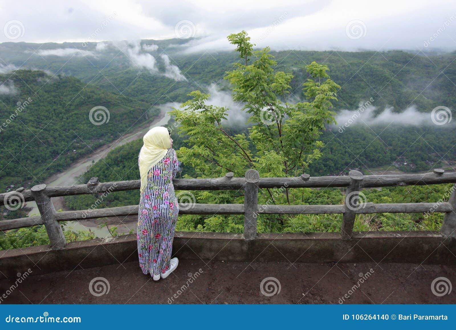 muslim women enjoy holiday cool nature mangunan bantul indonesia young yogyakarta traveling to natural scented place 106264140