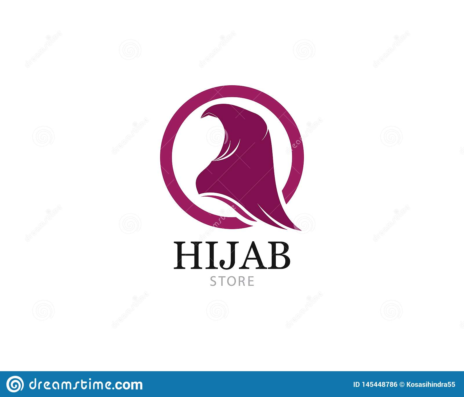 Muslimah Hijab Logo Template Vector Illustration Stock Vector