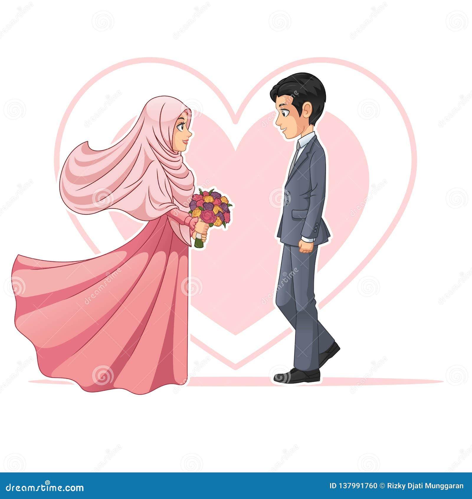 Muslimsk brud och brudgum Looking på de illustration för vektor för tecknad filmteckendesign