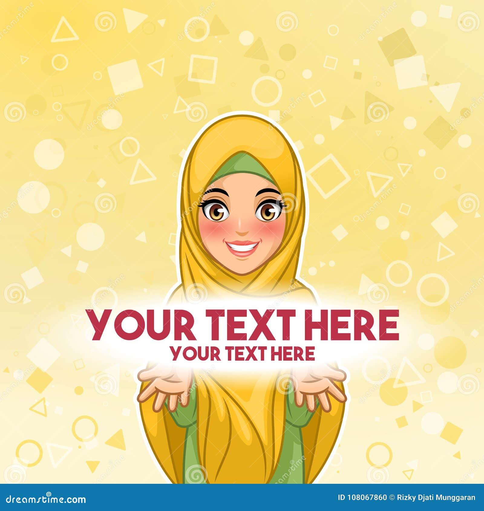 Muslimsk kvinna som framlägger illustrationen för textutrymmevektor