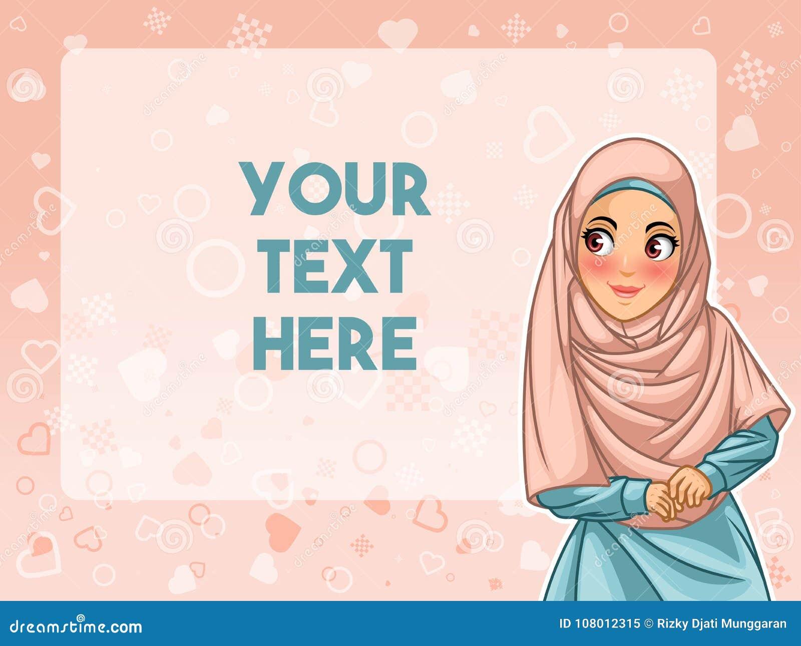 Muslimsk kvinnaframsida som ser en advertizingvektorillustration