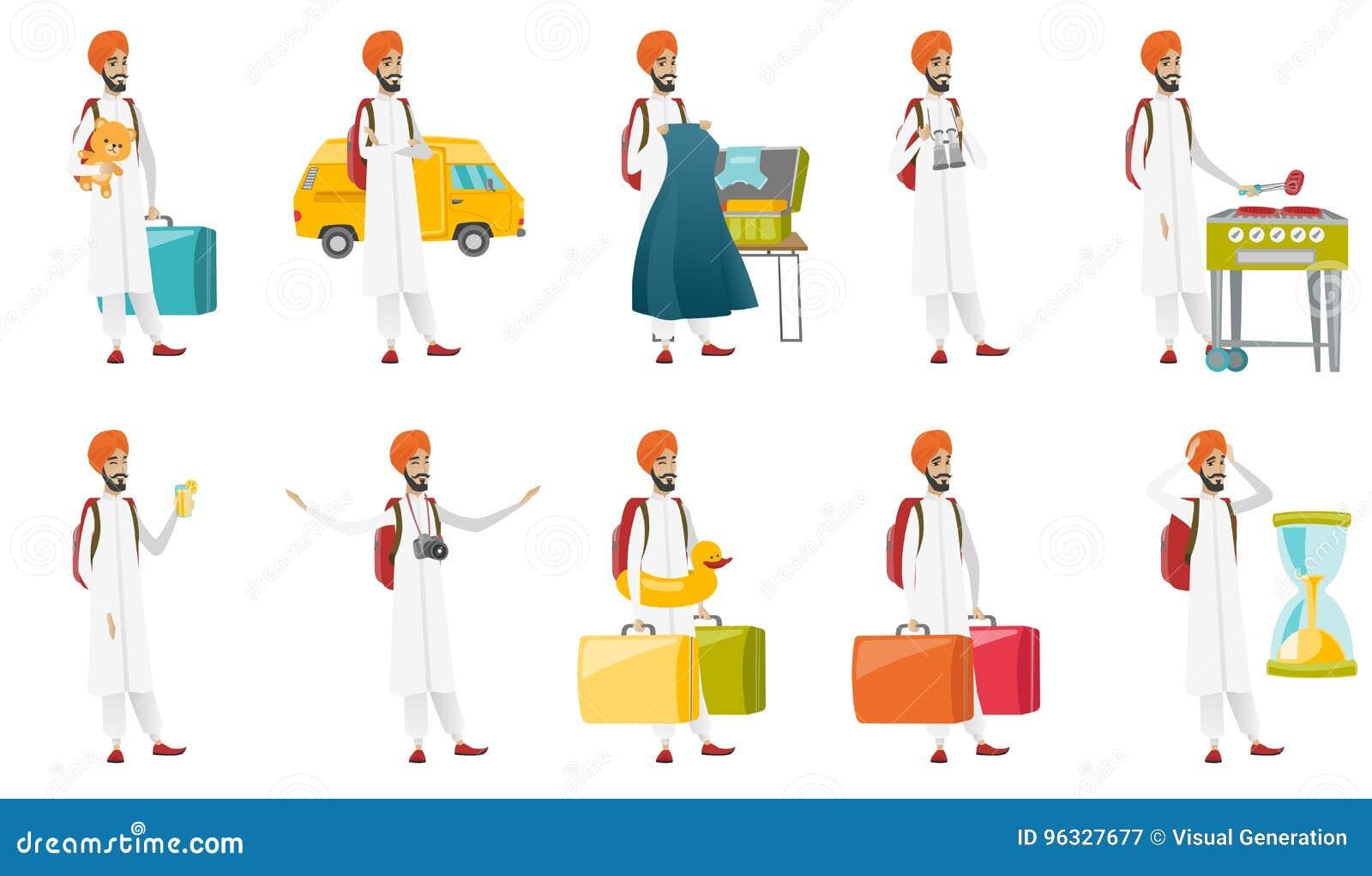Muslimsk uppsättning för handelsresandevektorillustrationer