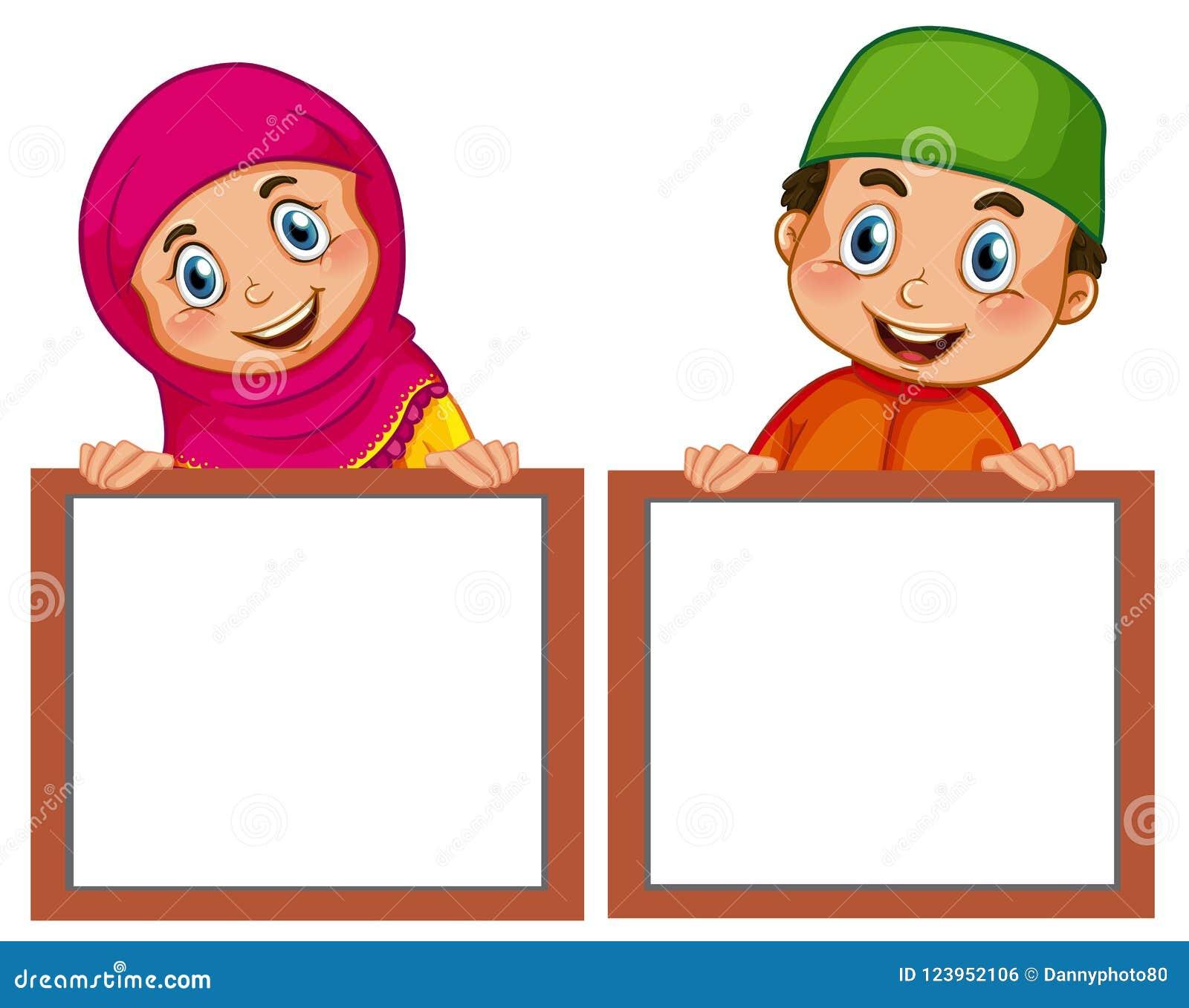 Muslimska barn och tömmer brädet