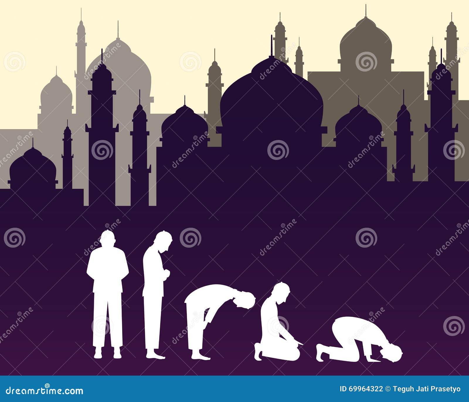 Muslimska muslim ber position med moskébakgrund