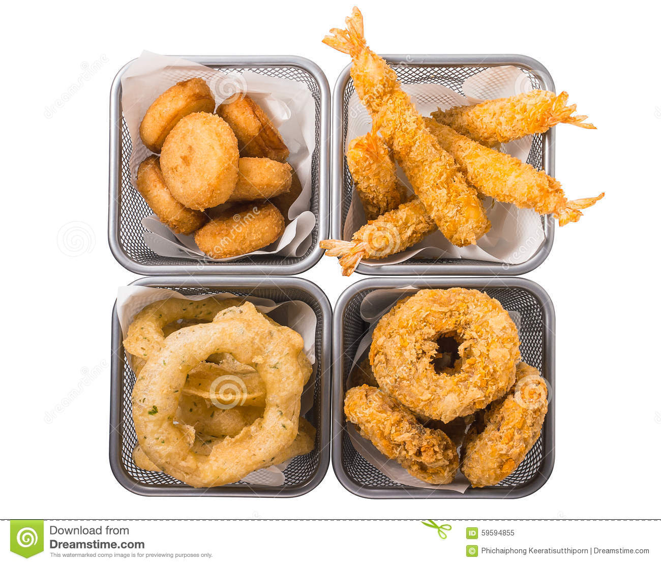Mussel, shrimps, onion ring, squid ring, deep fries