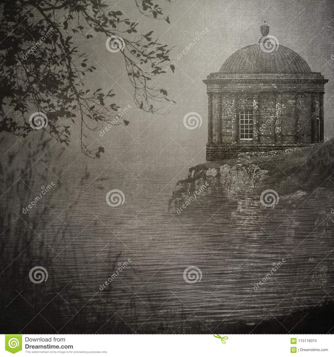 Mussenden Temple on a cliff`s edge