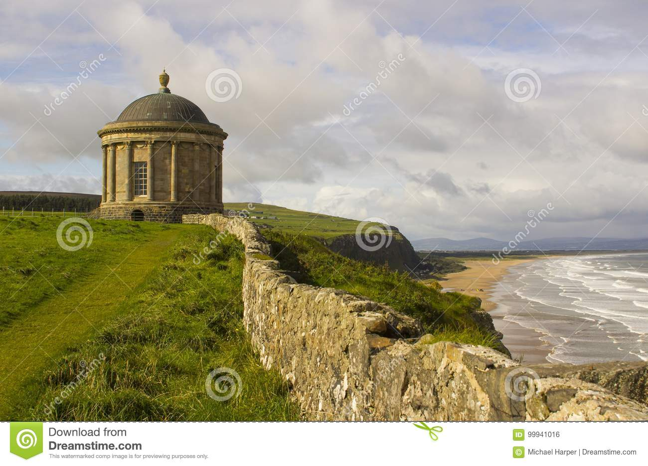 Mussenden Temple located on the Downhill Demesne in County Londonderry on the North Coast of Ireland.