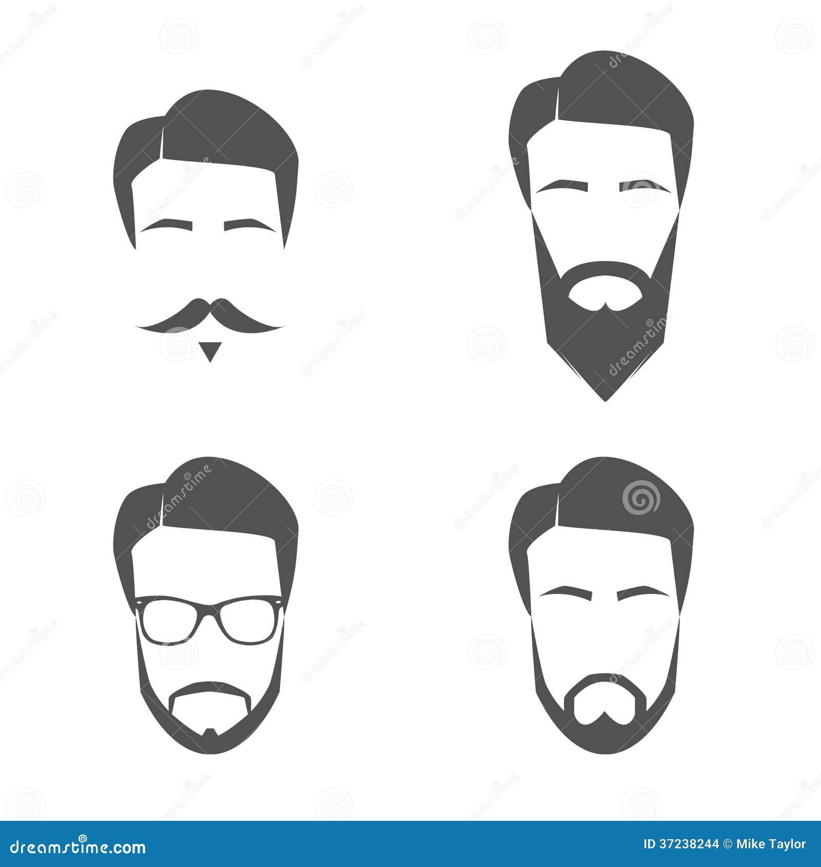 Mustache And Beard Face Logos