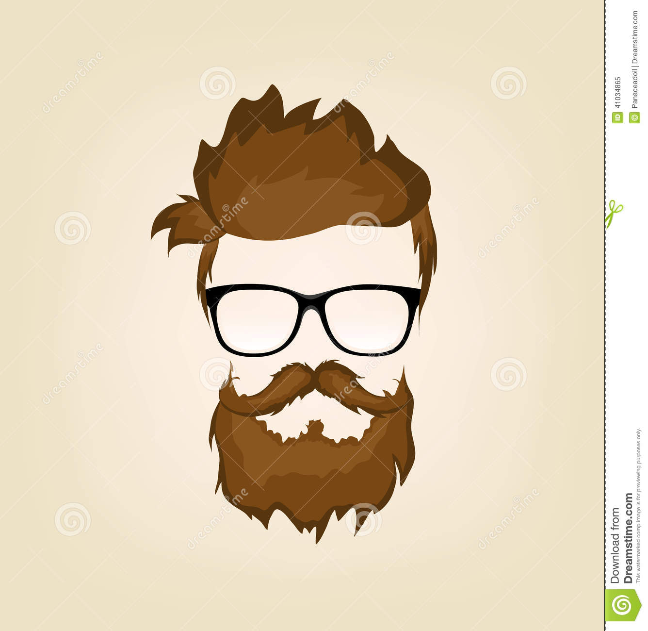 Mustache Beard Glasses Hairstyle Stock Vector Image