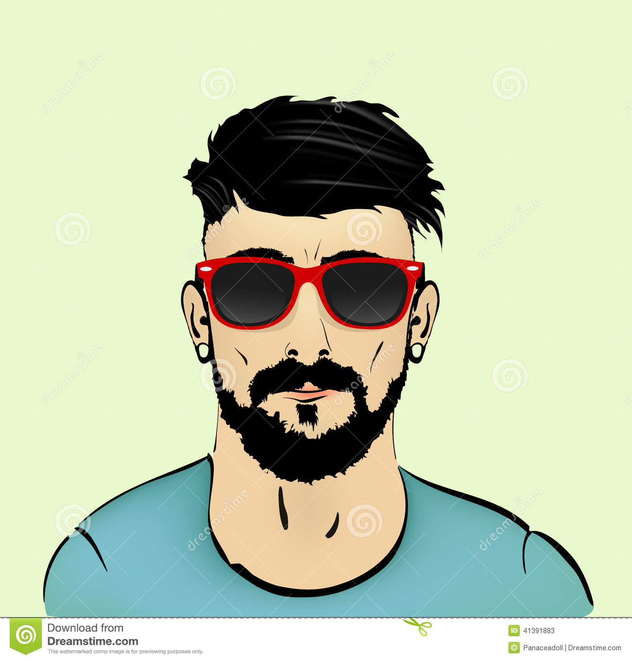Mustache Beard And Hairstyle Hipster Stock Vector Image