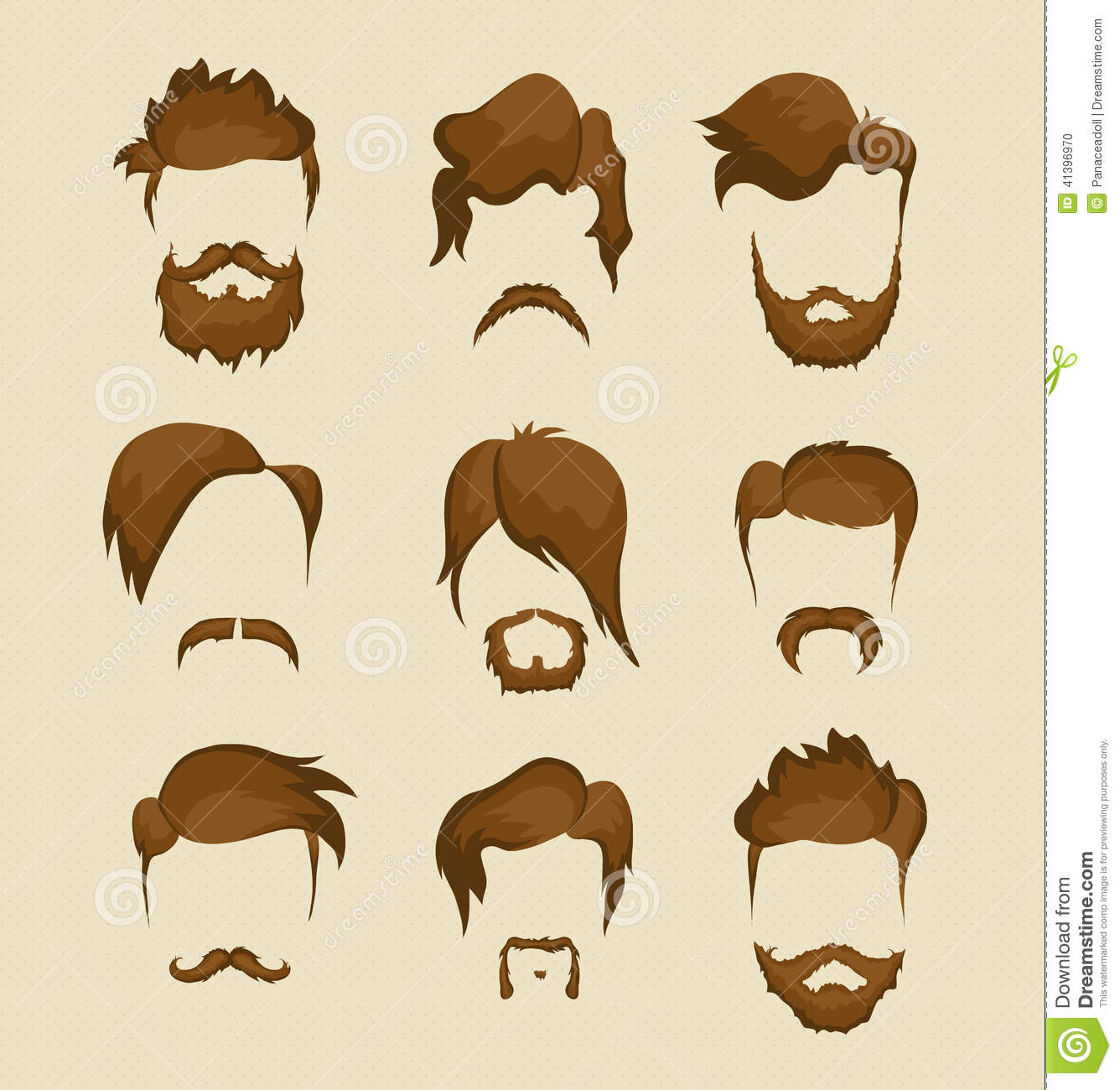 Mustache, Beard And Hairstyle Hipster Stock Vector - Image ...