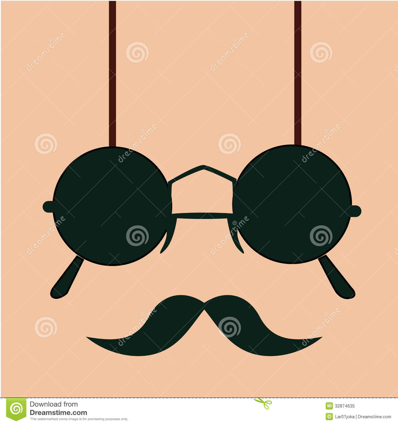 Mustache With Glasses Stock Vector Illustration Of Shine