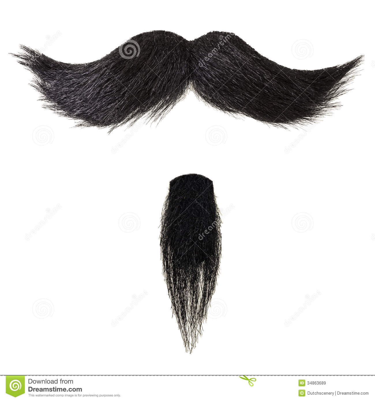 Mustache And Goatee Beard Isolated On White Stock Image
