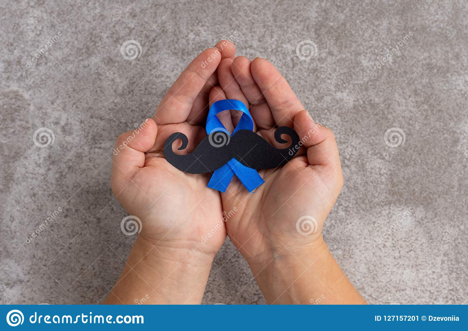 Mustache pattern with blue ribbon symbol. November movember concept.