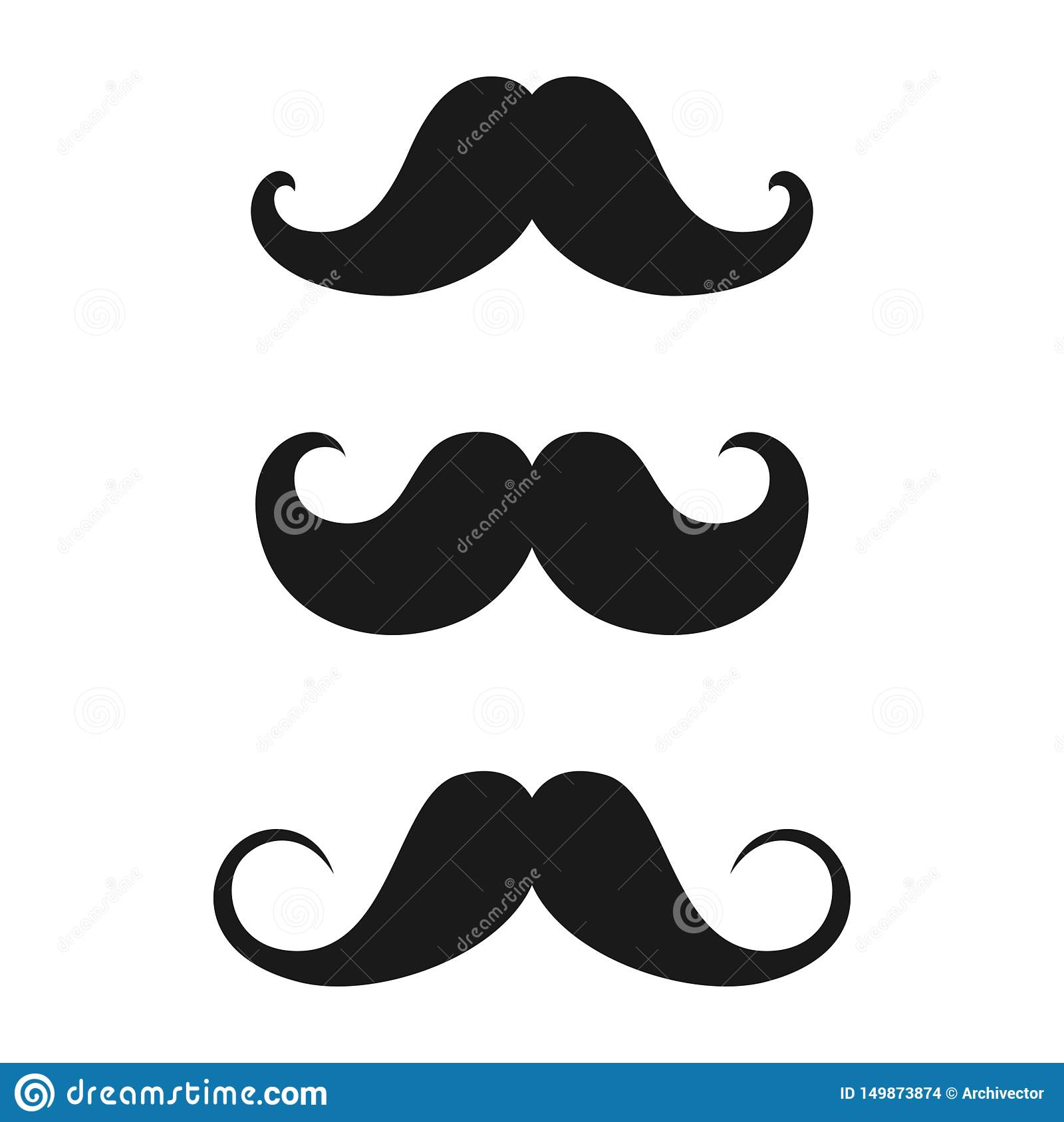 Mustaches old style icons set