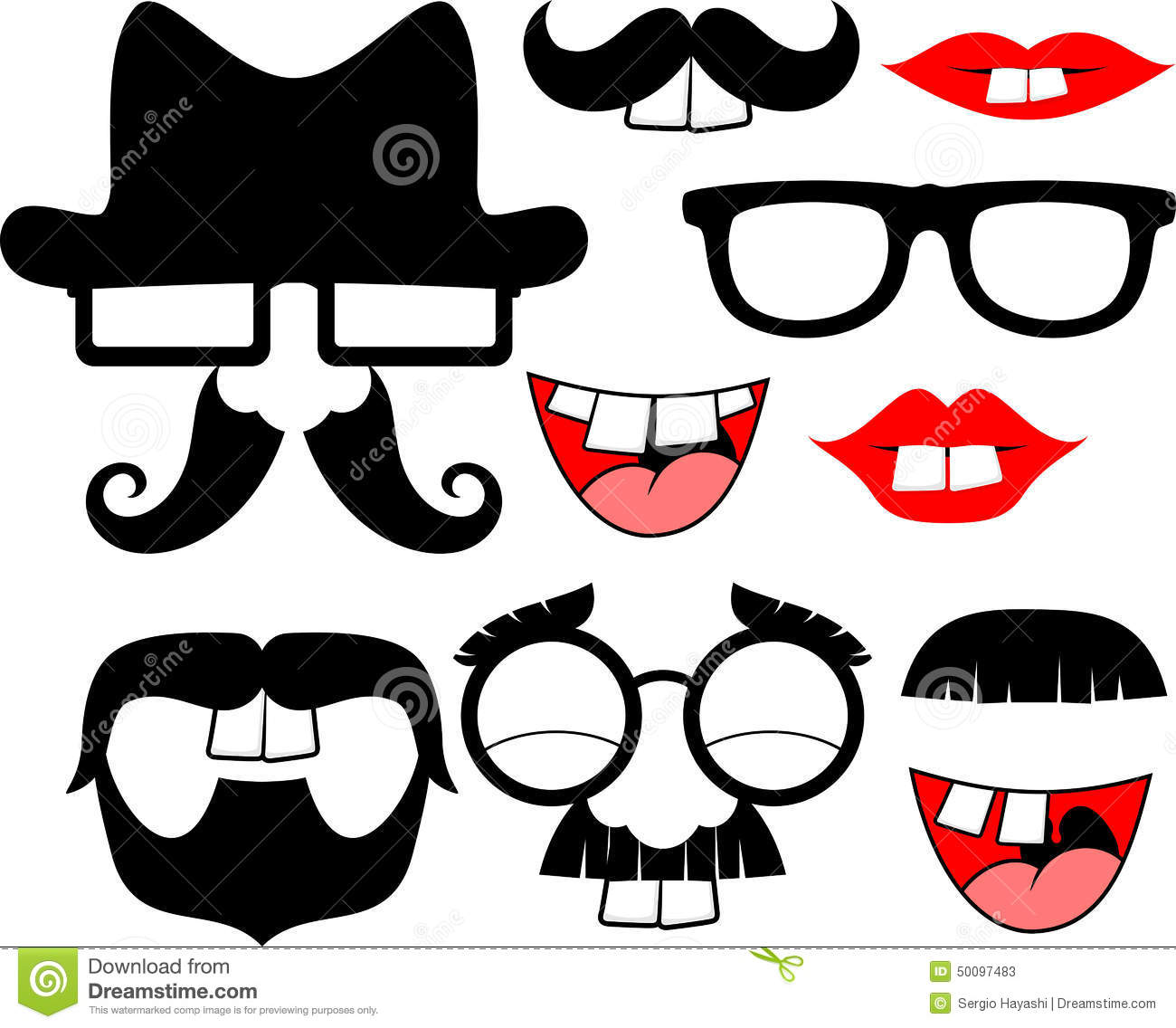 Mustaches And Lips With Big Front Teeth Stock Vector - Image: 50097483