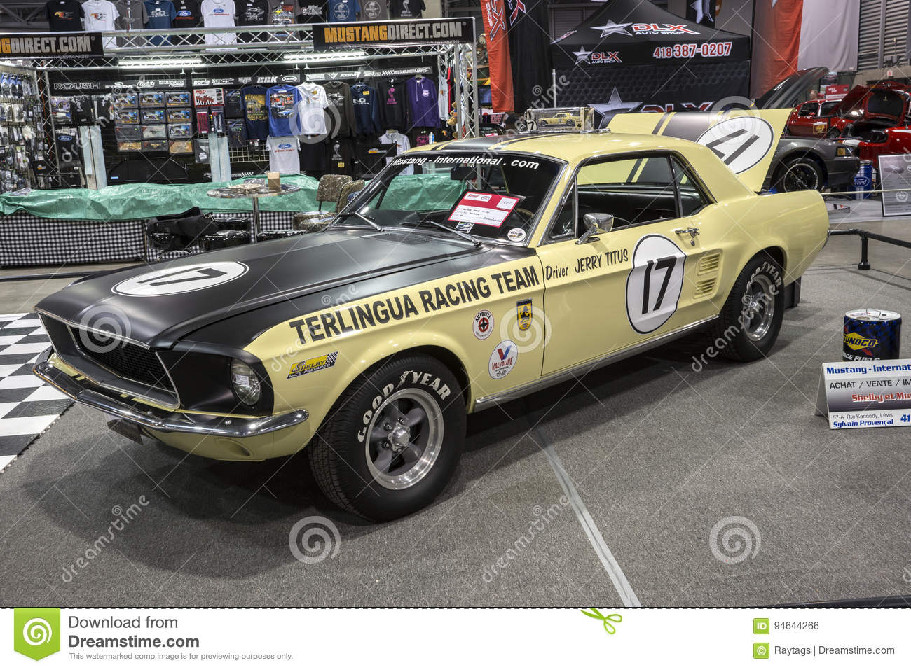 Picture of 1967 ford mustang race car in display during the salon de lauto sport de quebec april 7 8 9 2017