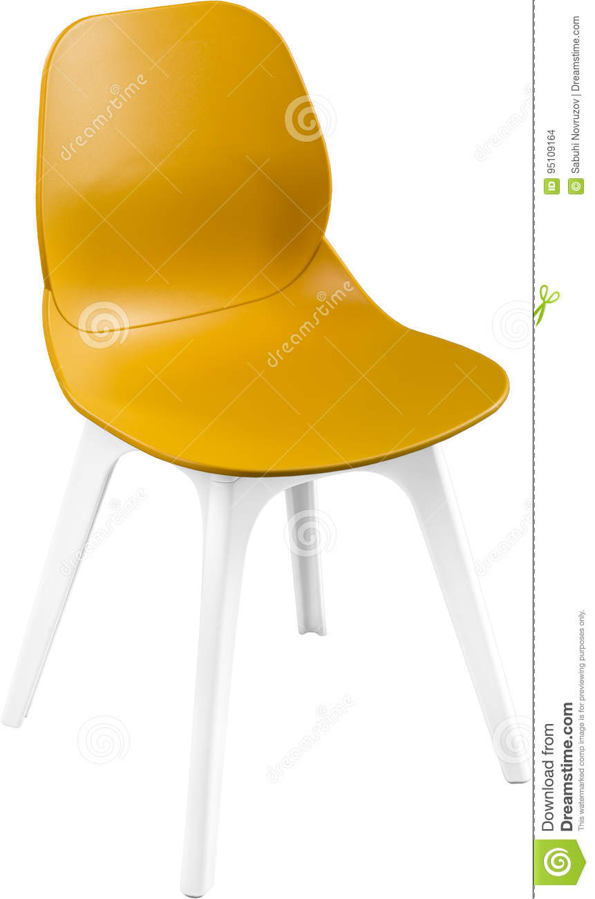 Mustard Color Plastic Chair Modern Designer Chair Isolated On