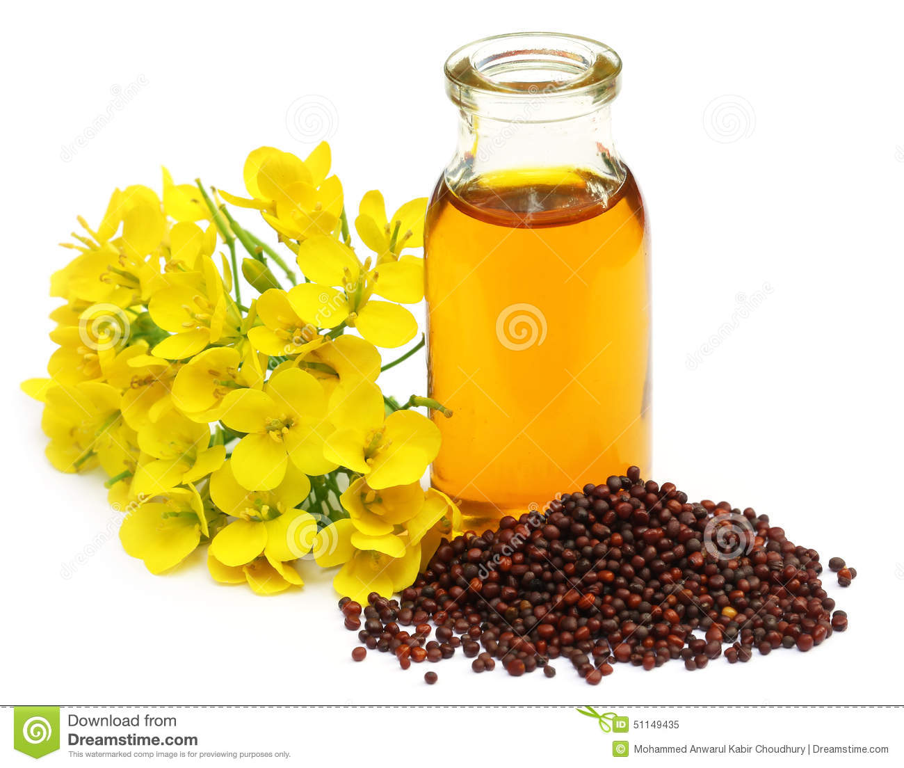 Mustard Flowers And Oil Stock Image