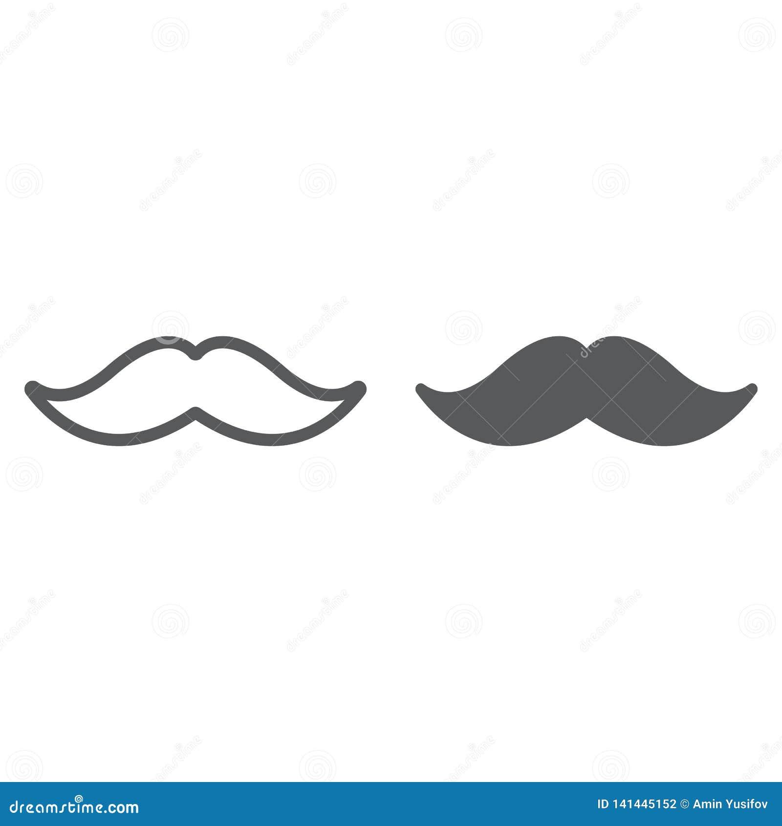 Mustaschlinje och skårasymbol, barberare och frisyr, mustaschtecken, vektordiagram, en linjär modell på ett vitt