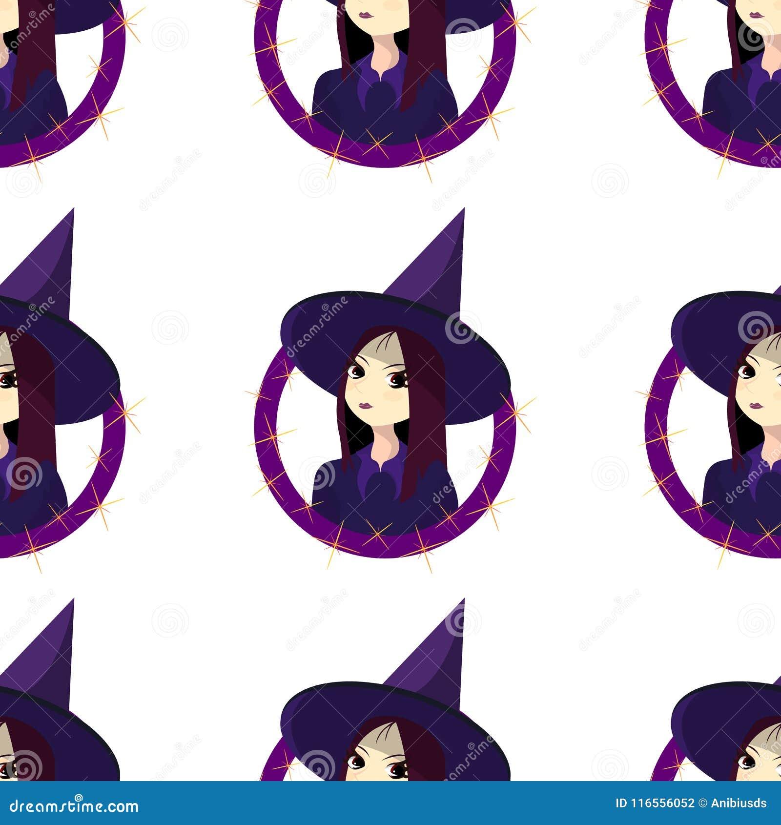 Muster auf dem Thema von Halloween mit dem Hexe-Junge