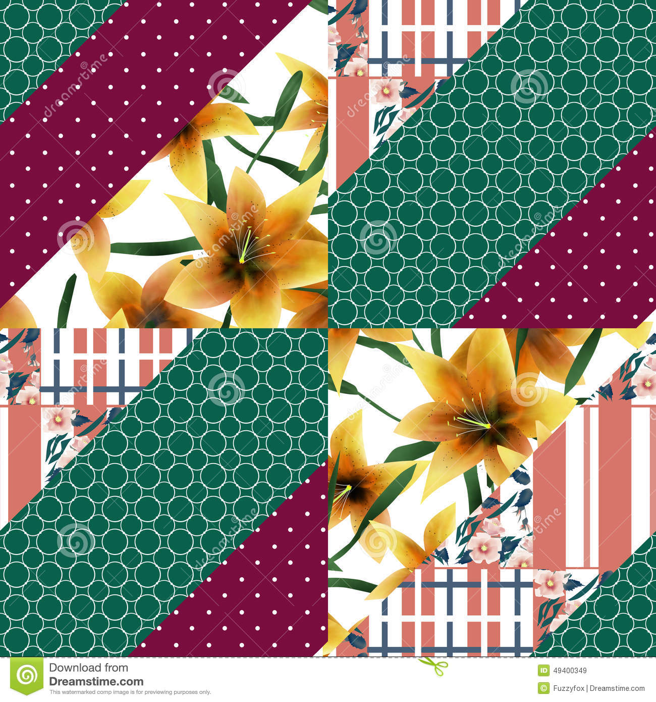 Download Muster-Beschaffenheit Backgroun Der Patchworknahtloses Blumenorange Lilly Stock Abbildung - Illustration von dekor, gewebe: 49400349
