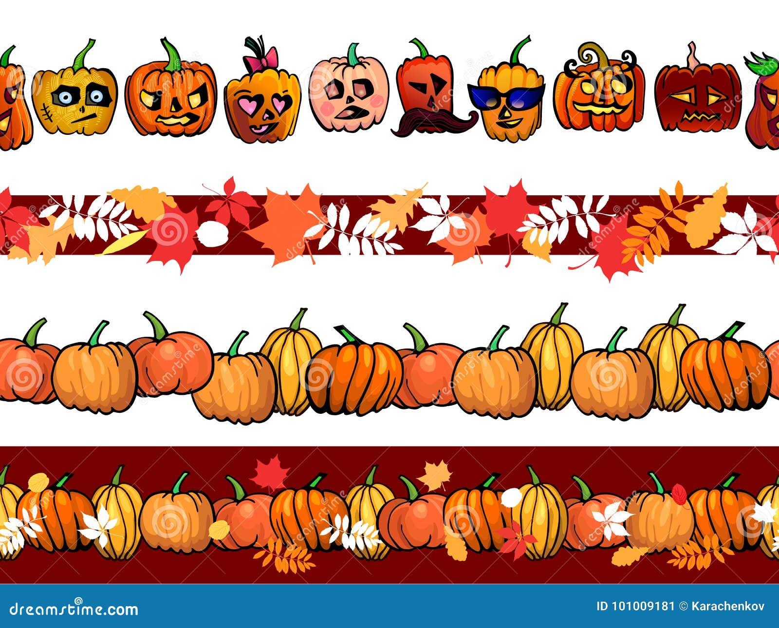 Muster-Grenzschablone des Herbstrahmens nahtlose mit den Kürbisen und Fallblättern eingestellt