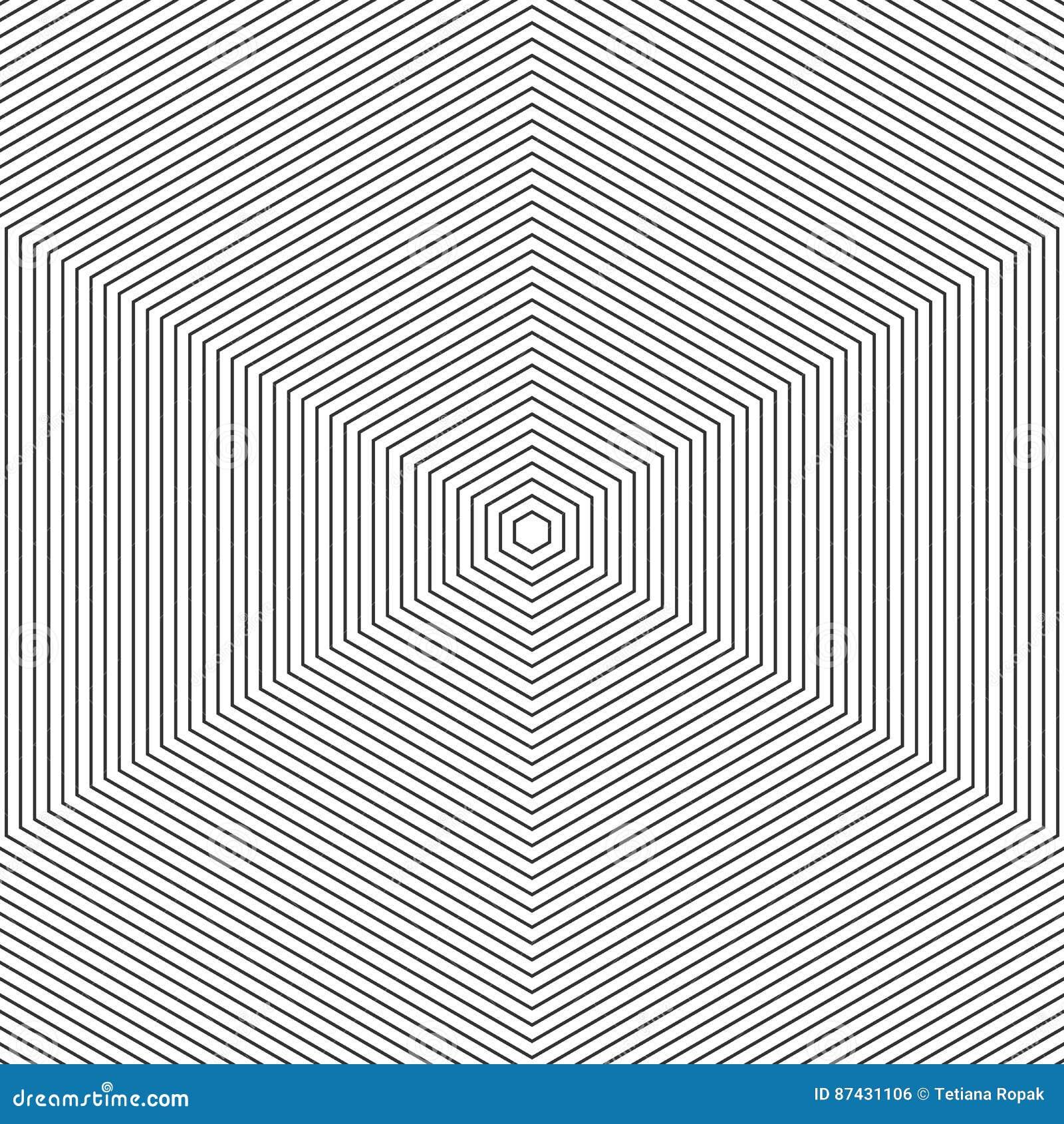 Muster mit der Zeile Schwarzweiss Einfarbige grafische Schwarzweiss-Verzierung des abstrakten des Vektors Musters der OPkunst Hex