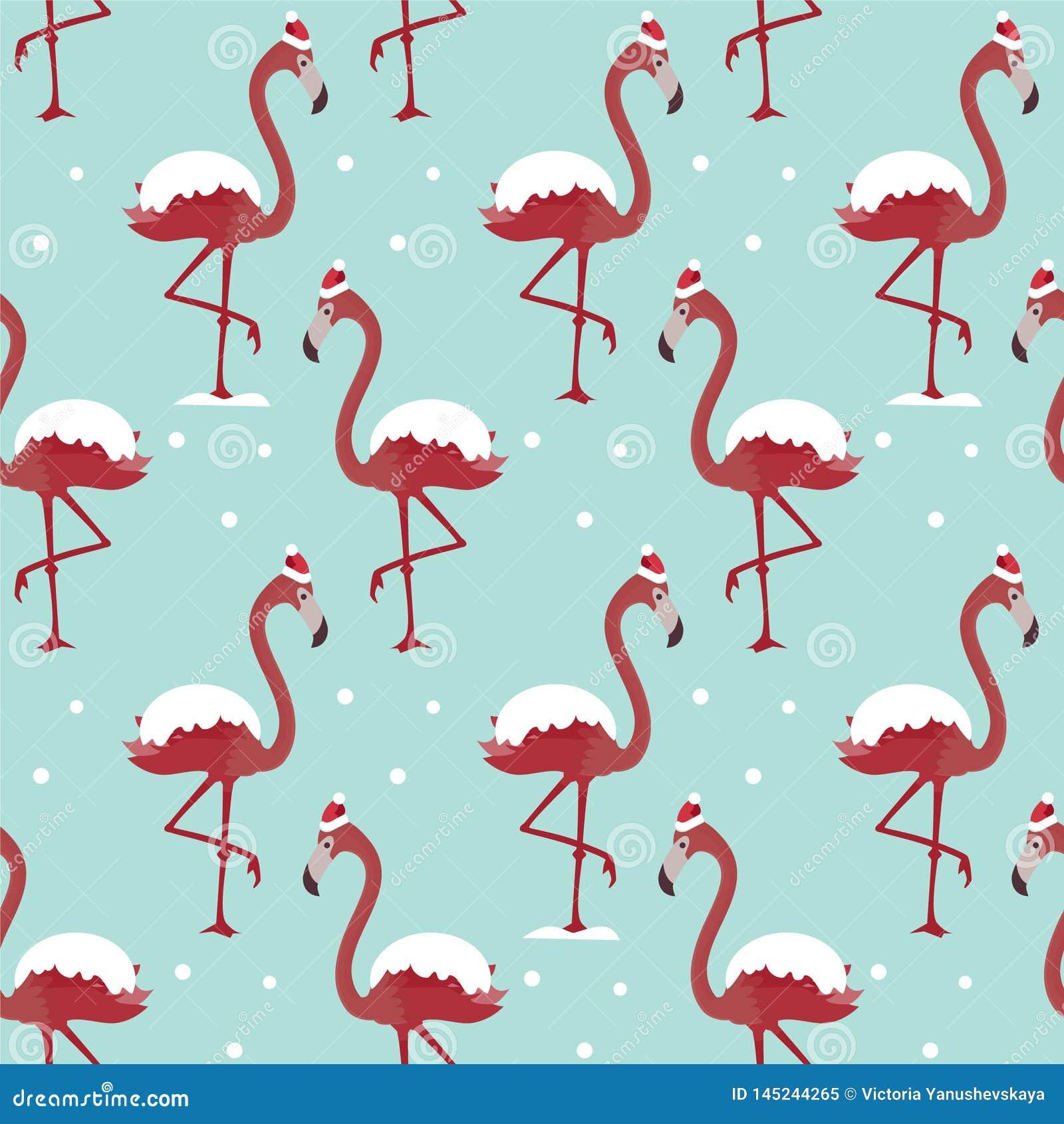 Muster mit Flamingo im Hut unter Schnee auf blauem Hintergrund